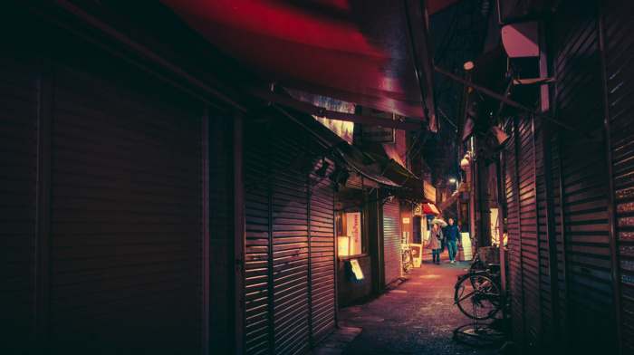 neon, Tokyo, Japanese, bicycle