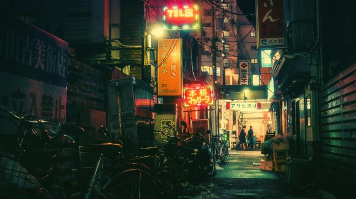 bicycle, Tokyo, Japanese, neon