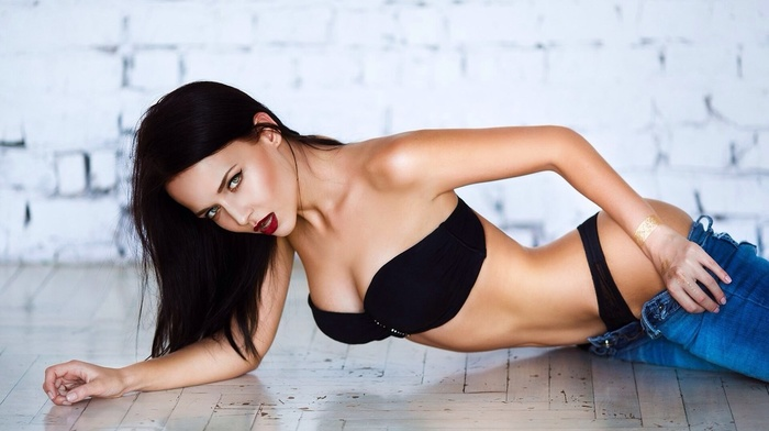 black lingerie, strapless bras, girl, Angelina Petrova, jeans, looking at viewer, black hair, on the floor, pants, sensual gaze, model