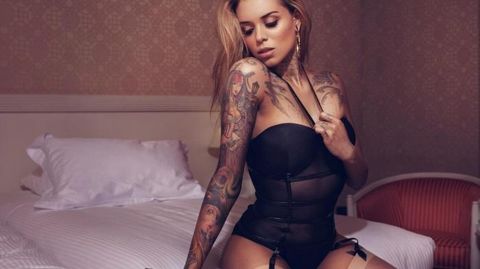 black lingerie, in bed, girl, Arabella Drummond, blonde, pantyhose, model, sitting, garter belt, closed eyes