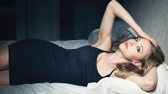 in bed, blonde, black dress, dress, hands on head, Amanda Seyfried, armpits, actress, blue eyes, girl, celebrity