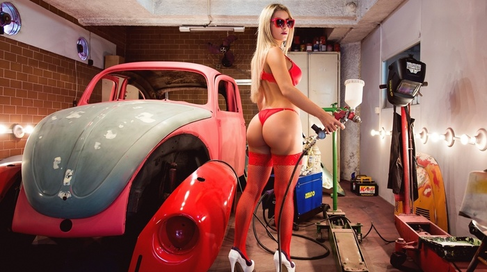 blonde, red lingerie, car, sunglasses, looking at viewer, ass, workshops, fishnet stockings, back, girl, curvy