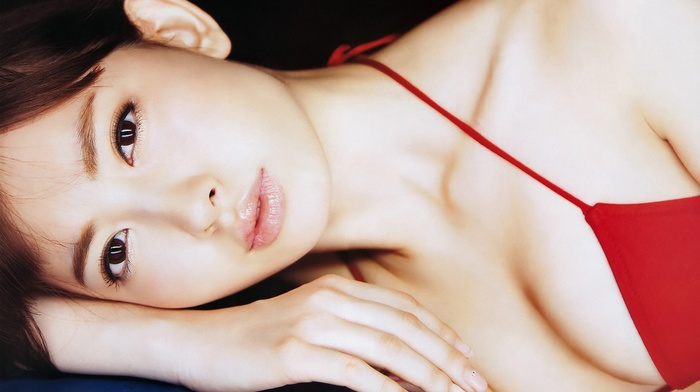 bikini, Kojima Haruna, model, brown eyes, brunette, girl, Japanese Art