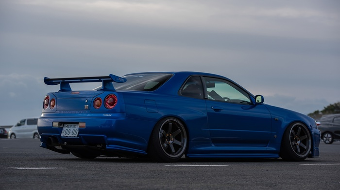 vehicle, blue cars, Skyline R34, Nissan Skyline, Nissan, Nissan Skyline GT, R R34 Nismo, JDM, wheels, car, R R34 Nismo Z, Tune, Nismo, camber, skyline, stance