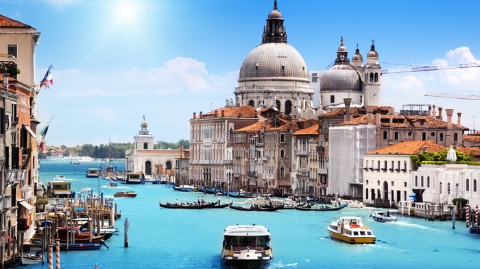 building, Venice, water, boat, house, landscape, canal, city, Italy