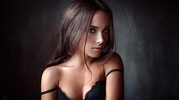 portrait, lingerie, Georgy Chernyadyev, bare shoulders, Kseniya Klimenko, cleavage, girl, black bras, tanned, brown eyes, brunette