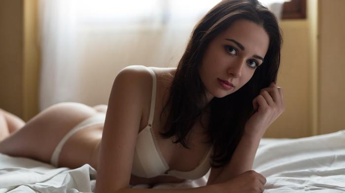 in bed, white panties, lingerie, brunette, girl, small boobs, depth of field, blue eyes, thong, white bra, ass