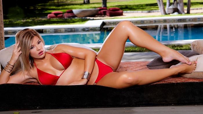 bikini, model, girl, swimming pool