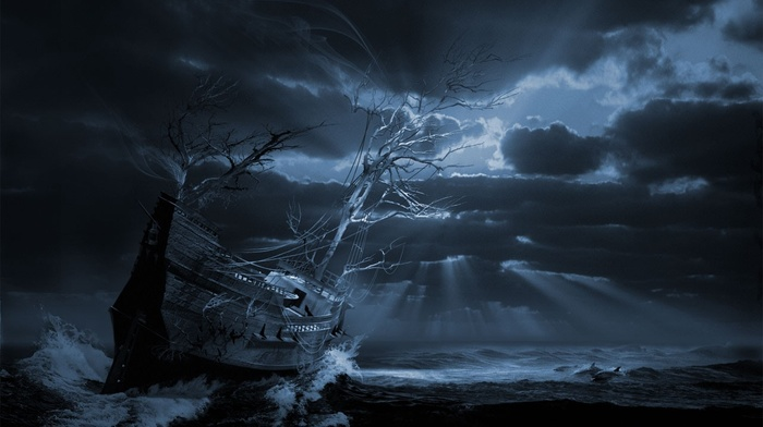 surreal, storm, sailing ship, digital art, sun rays, trees, ship, ghost ship, clouds, dolphin, branch, waves, dark