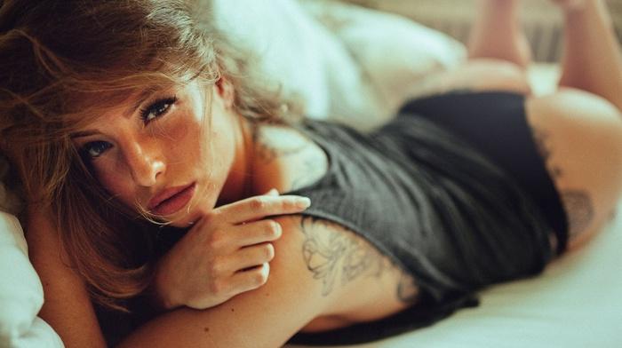 brunette, model, ass, black panties, tattoo, girl, panties, in bed, juicy lips