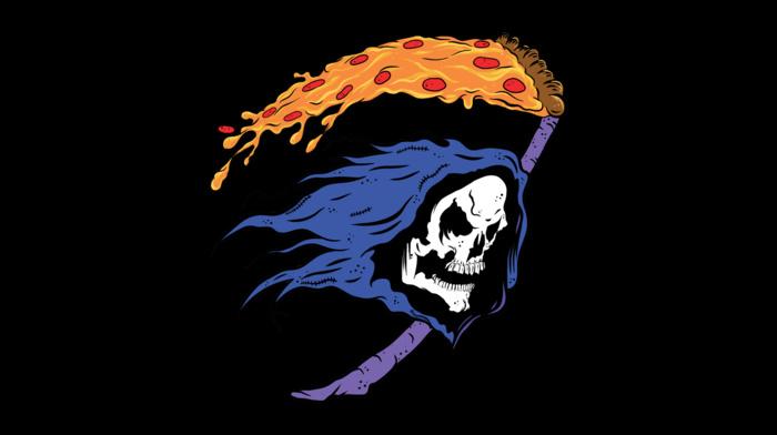 scythe, hoods, He, man, pizza, minimalism, teeth, digital art, humor, skull, grim reaper, black background