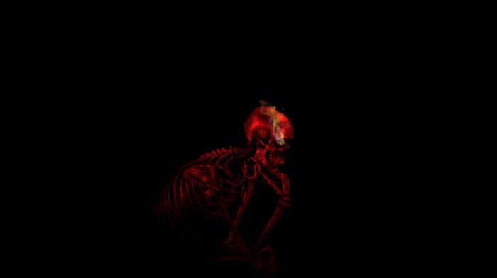 skull, digital art, smoke, Auguste Rodin, imagination, thinking, red, teeth, bones, minimalism, ribs, black background, skeleton