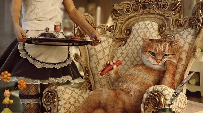 photo manipulation, humor, food, flowers, fishnet stockings, Wealth, cigars, cat, digital art, skirt, animals, drink, maid, sausage, girl, chair