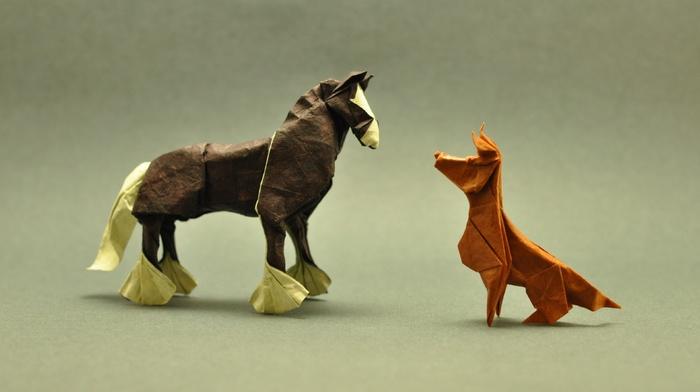 artwork, origami, depth of field, horse, animals, simple background, minimalism, paper, dog