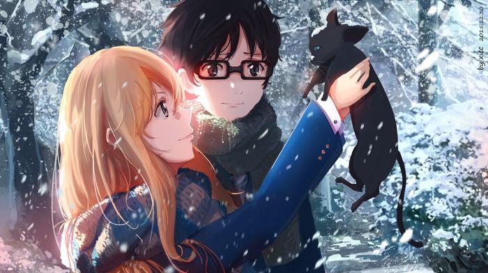 cat, anime, manga, anime girls, Shigatsu wa Kimi no Uso, Arima Kousei, Miyazono Kaori, snow