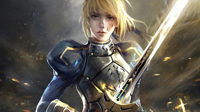 FateStay Night Unlimited Blade Works, warrior, blonde, fantasy art, girl, Saber, sword, artwork, fate series