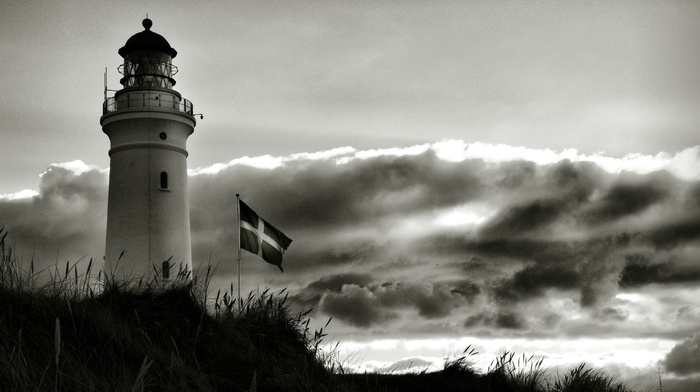 monochrome, flag, clouds, lighthouse, Denmark