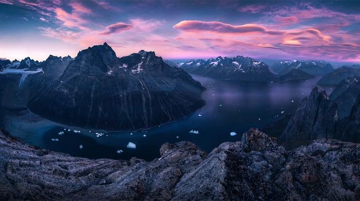 bay, glaciers, Greenland, landscape, nature