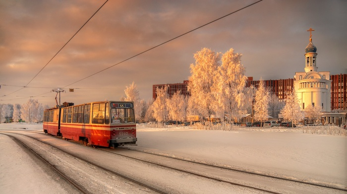tram, St. Petersburg, city, evening, snow, winter, Russia, church, Orthodox