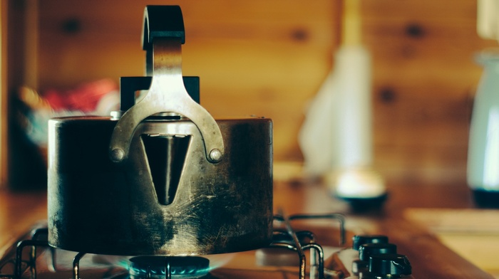 kettle, cabin, Norway, stove