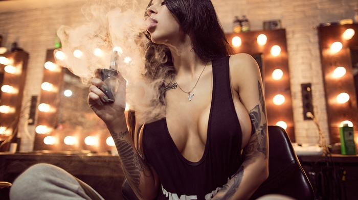 girl, no bra, smoking, black hair, brunette, big boobs, sideboob, tattoo, Aleksandr Lishchinskiy, nip, slips, vaping