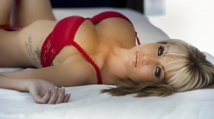 lingerie, lying on back, cleavage, blue eyes, big boobs, smoky eyes, tattoo, girl, blonde, red bra, red panties