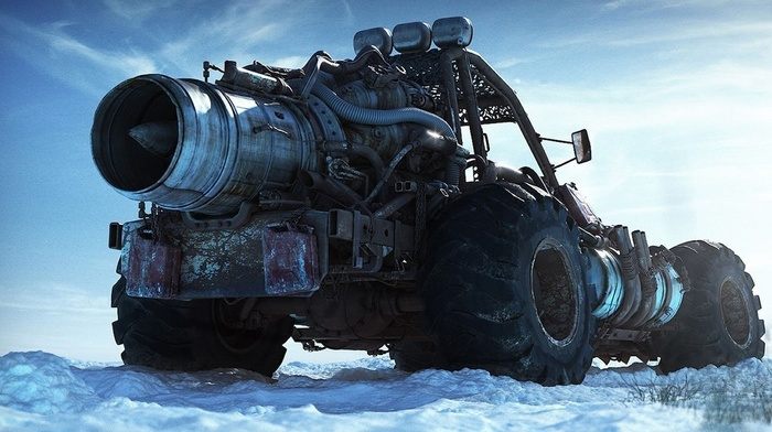nature, digital art, wheels, vehicle, monster trucks, snow, buggy, pipes, clouds, turbine, engines