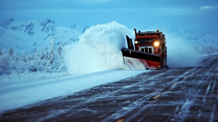 lights, nature, mountains, vehicle, road, snow, winter, skid snow, trees, trucks