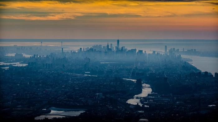 mist, cityscape, urban, water, New York City, sea, building, skyscraper, photography, city