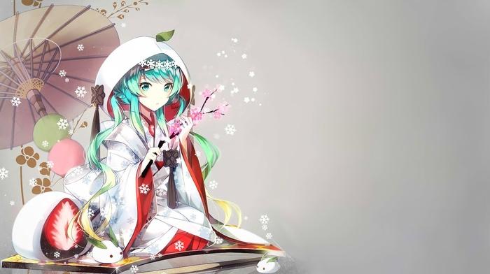 Hatsune Miku, Yuki Miku, anime, kimono, Vocaloid, anime girls