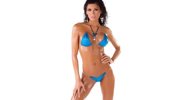 bikini, looking at viewer, hands on hips, boobs, bare shoulders, model, thong, bra, legs, body oil, blue bikinis, brunette, hands on knees, necklace, lips, Isabella Milan, oiled body, panties, girl
