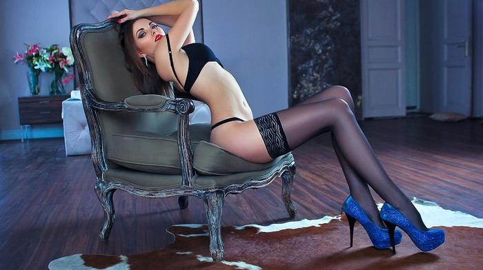 girl, black lingerie, arched back, black stockings, high heels, sitting, model