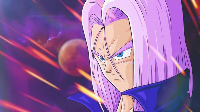 Trunks character, Dragon Ball, Dragon Ball Z, anime, violets, space