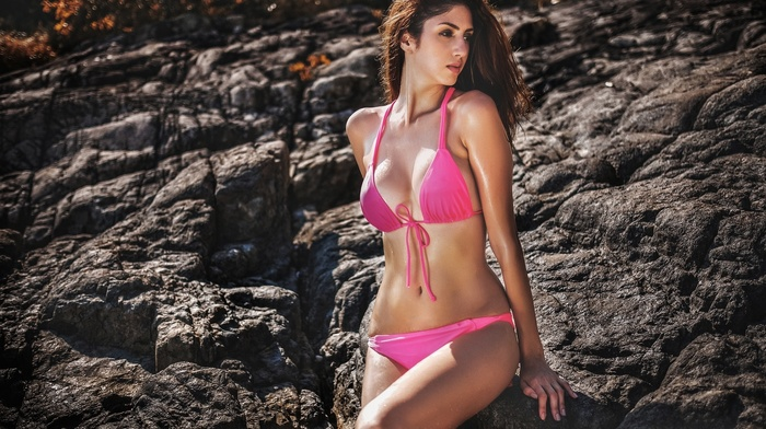 wet, rock, girl, sideboob, swimwear, girl outdoors, cleavage, pink bikinis, model, wet body, bikini