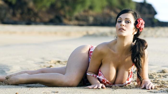 bikini, big boobs, Denise Milani, model, girl, girl outdoors, sand