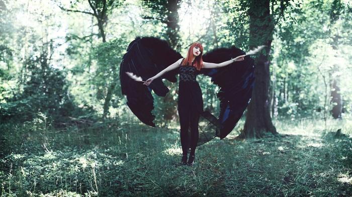 model, fantasy art, angel, girl outdoors, girl, forest