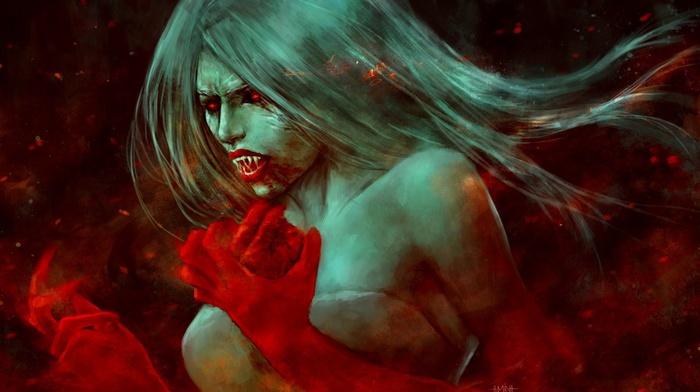 vampires, fantasy art, blood, artwork