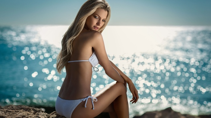 girl, sea, sitting, blonde, rock, girl outdoors, model, bikini, Maarten Quaadvliet