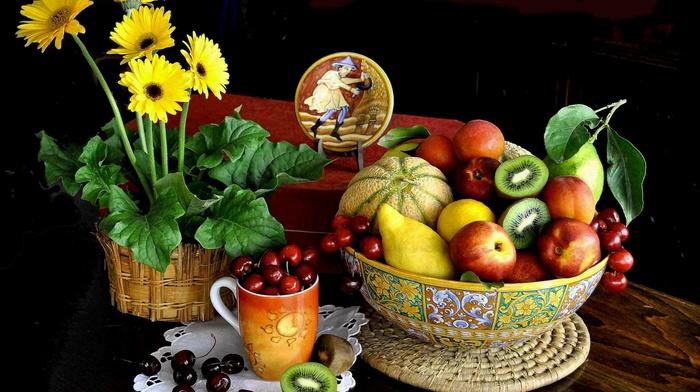 kiwi fruit, mugs, fruit, flowers, cherries food, flowerpot, yellow flowers, bowls