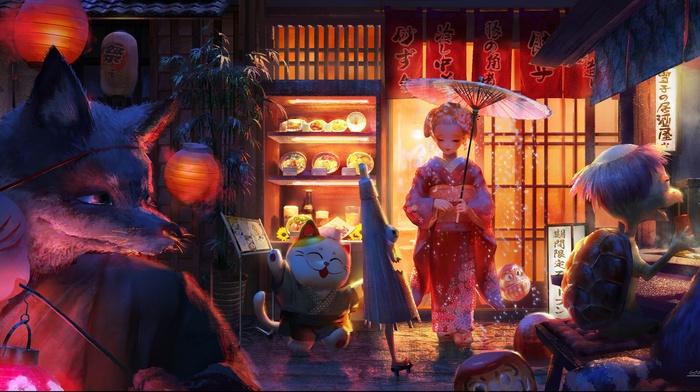 kimono, mask, umbrella, turtle, animals, original characters, food, lantern, fox