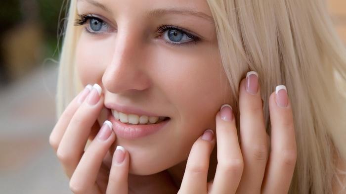 teeth, face, blue eyes, long hair, portrait, girl, depth of field, long nails, Alysha A, hands, looking away, blonde, model, smiling