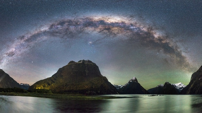 long exposure, mountains, panoramas, starry night, nature, landscape, fjord, New Zealand, snowy peak, Milford Sound, Milky Way, galaxy