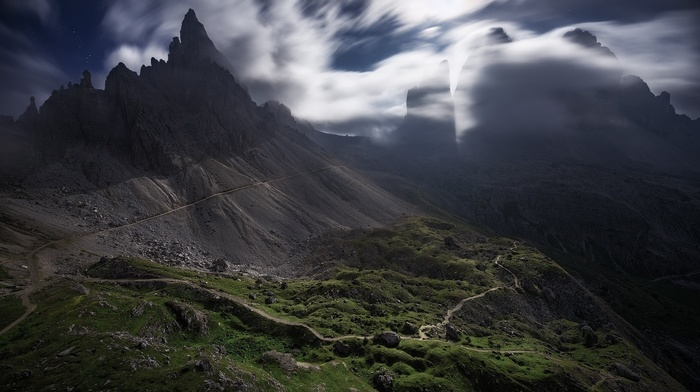 clouds, landscape, Italy, nature, wind, dirt road, mountains, Dolomites mountains, moonlight, Alps