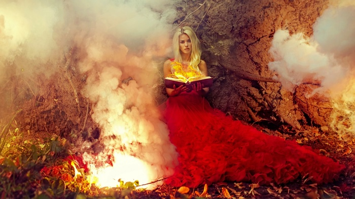girl, fire, fantasy art, model