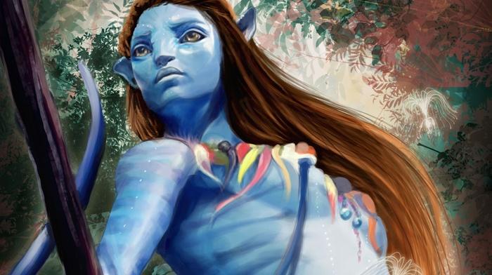 fantasy art, blue skin, Avatar