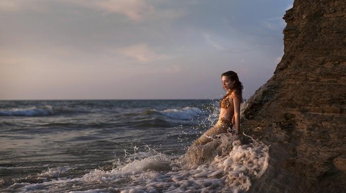 model, fantasy art, sea, girl outdoors