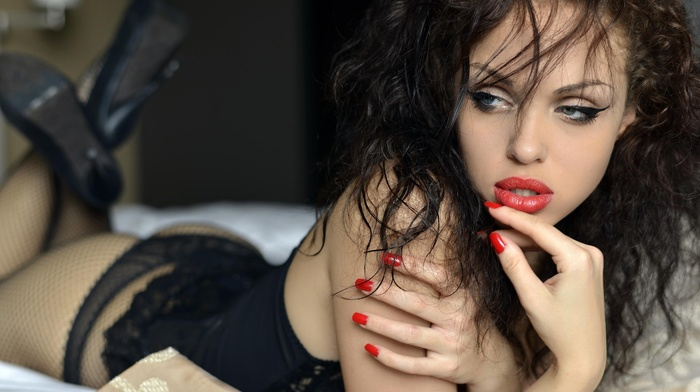 pantyhose, red lipstick, high heels, lace, legs up, open mouth, lying on front, girl, fishnet, black lingerie, thong, wavy hair, red nails, juicy lips, corset, brunette, ass, see, through, eyeliner, looking away, lingerie, blue eyes
