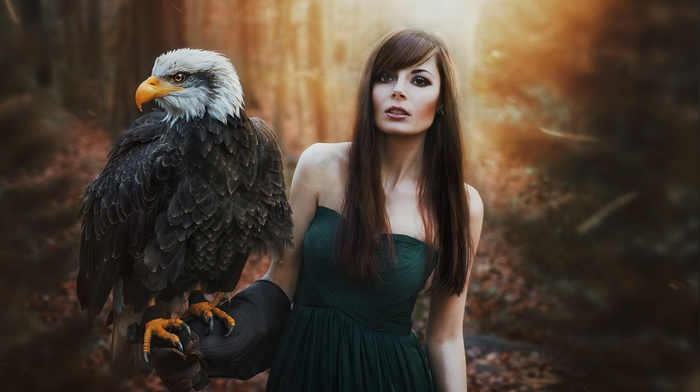 standing, forest, long hair, bangs, no bra, eagle, portrait, open mouth, girl outdoors, brown eyes, bare shoulders, green dress, dress, smoky eyes, girl, pale, birds, brunette