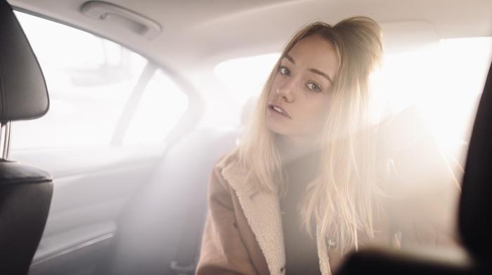 vehicle interiors, girl, blonde, coats, portrait, blue eyes
