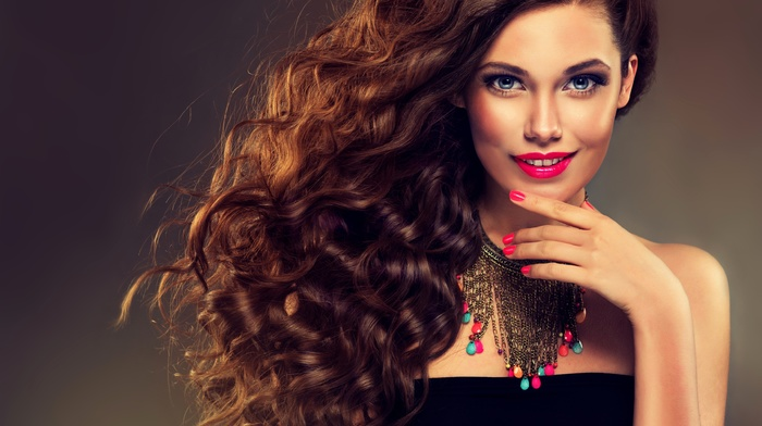 curly hair, makeup, eyes, smiling, looking at viewer, simple background, brunette, girl, long hair, face